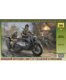 German Motorcycle With Sidecar And Crew