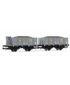 Set Dos Vagones X Abierto Con Carga Vde Carbon Te