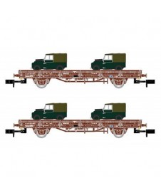 Set 2 Vagones Plataforma Land Rovers Militar
